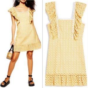 NWOT TOPSHOP Mustard Gold Eyelet Ruffle Dress